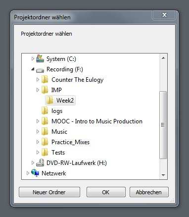 Create a project folder at specific location