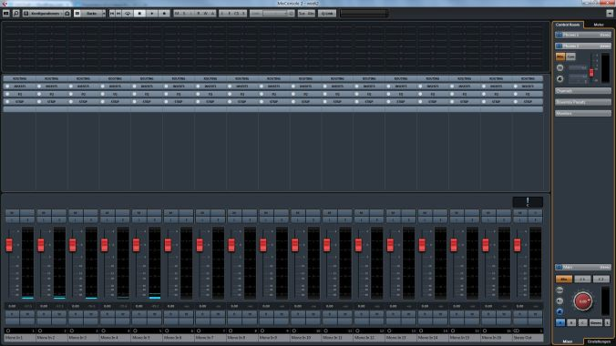 Cubase mixer showing all 16 available inputs.