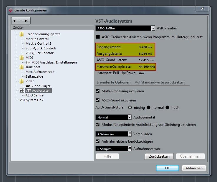 VST system settings